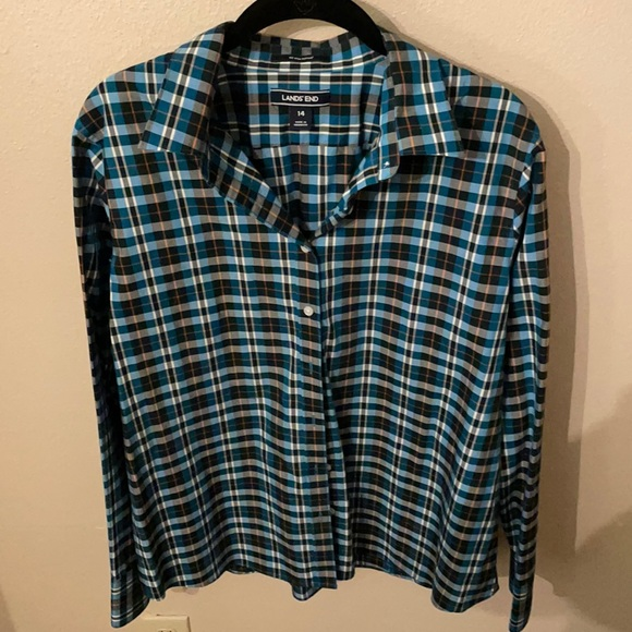 No iron supima button down blouse by Lands End